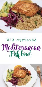 kid approved Mediterranean fish bowl wild caught Alaska halibut cooking with kids halibut recipe pan seared halibut