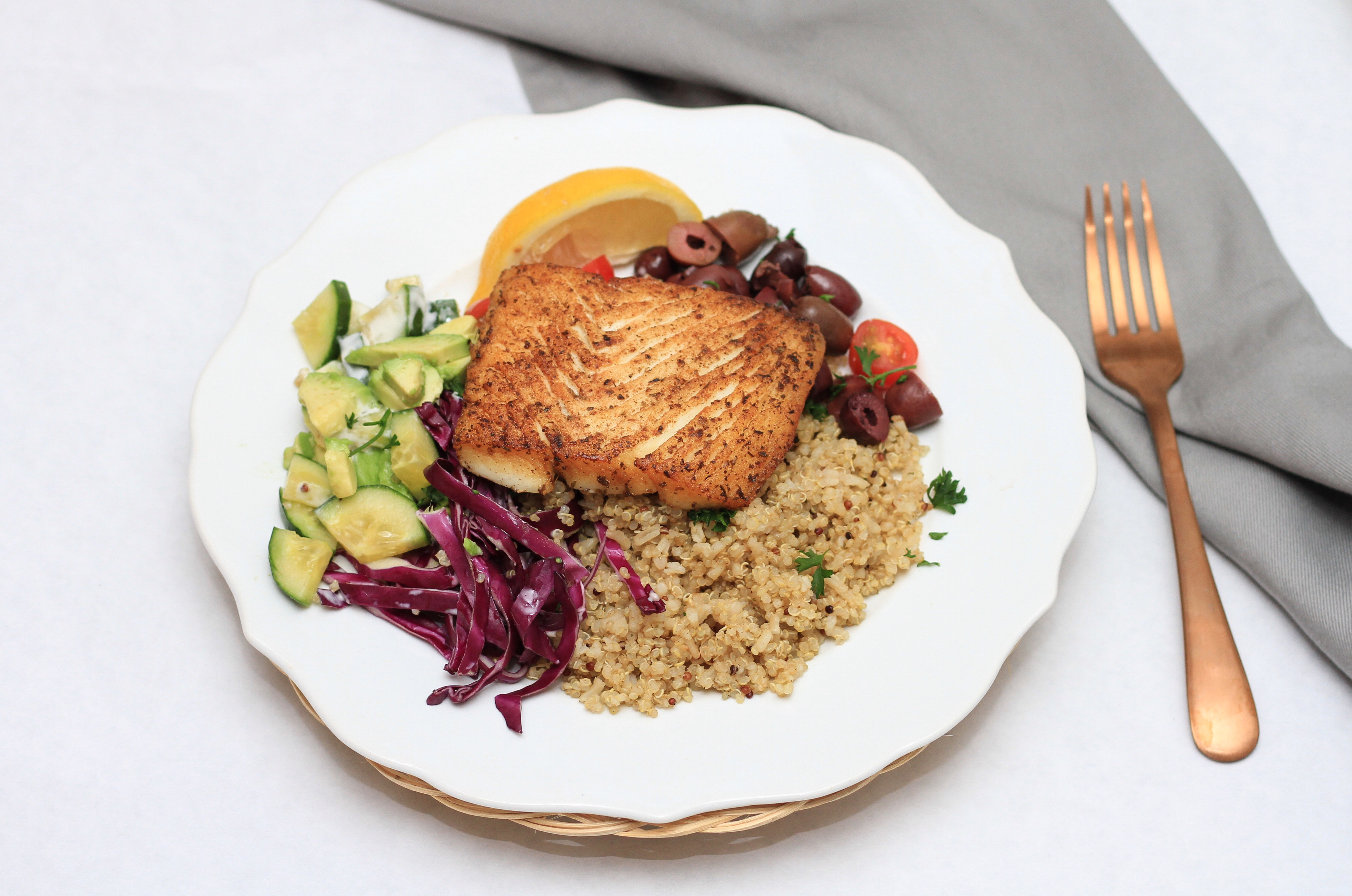 mediterranean fish bowl pan seared halibut wild caught Alaskan sea food mom blog mommy blogger dad blog traveling family recipe food foodie halibut alaskan halibut fish for kids homeschooling cooking with kids traveling with kids