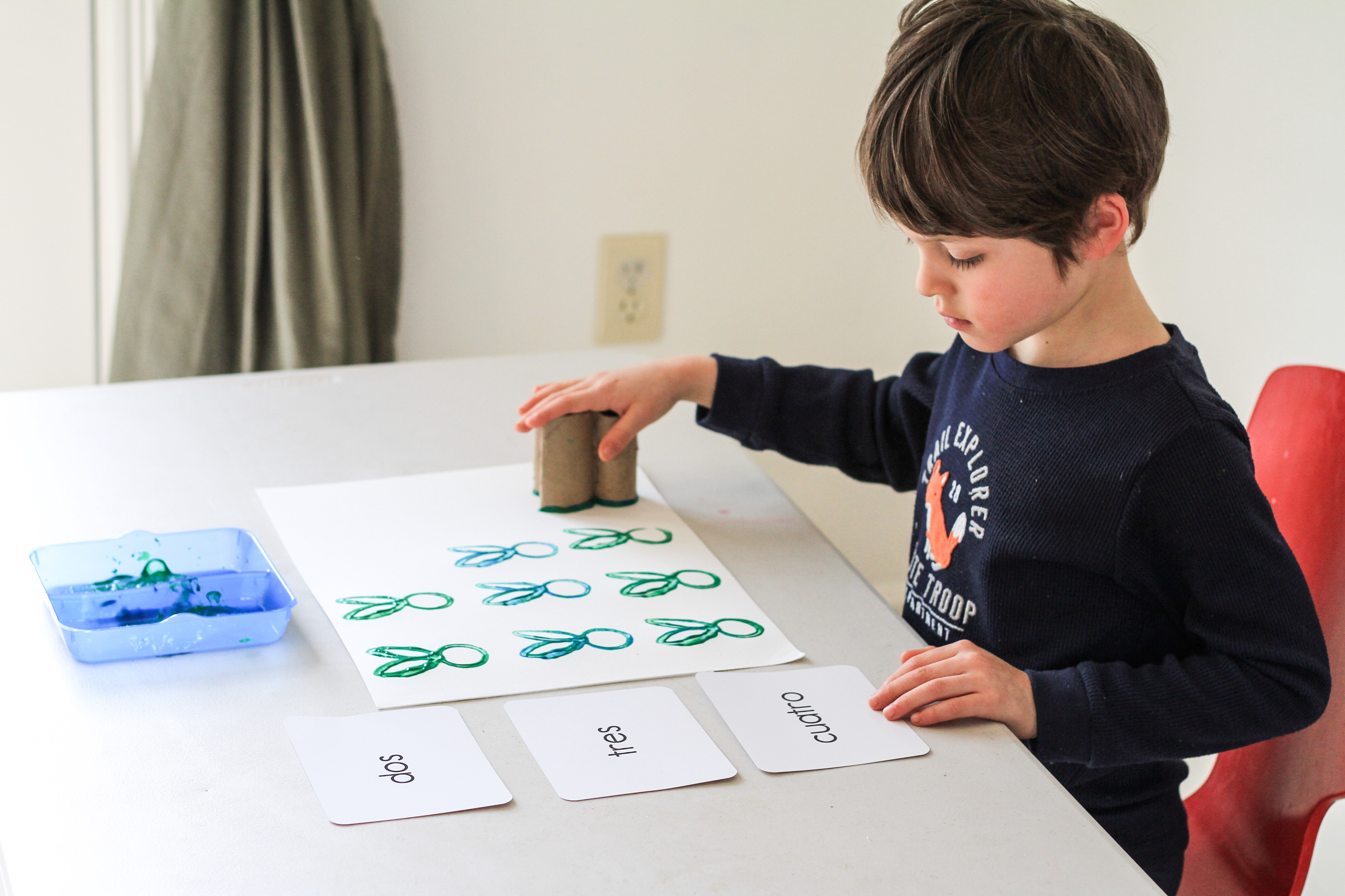 DIY stamping activities for kids easter craft sensory activities learning at home early learning traveling with kids mom blog dad blog travel blog worldschooling homeschooling art for kids toddler art easter art painting with kids 2018 Virginia Peru Colombia Europe United States California Education Counting with kids travel to learn
