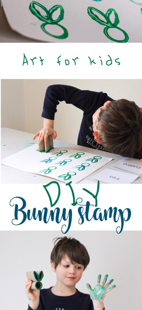 DIY bunny stamp for kids bunny stamping activity for kids Easter craft counting with kids