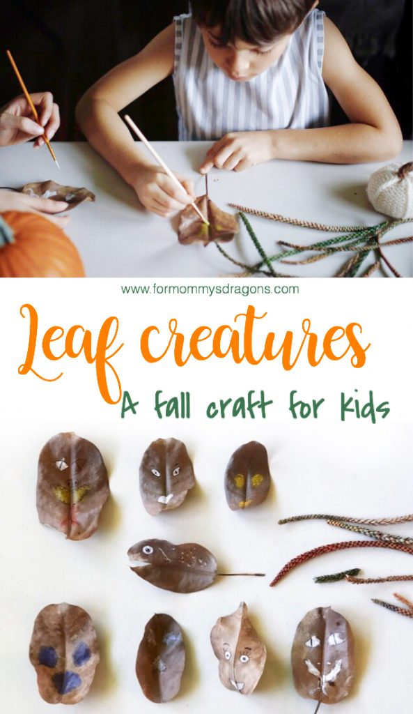 making leaf creatures. A fall craft for kids. Nature art. Homeschool projects