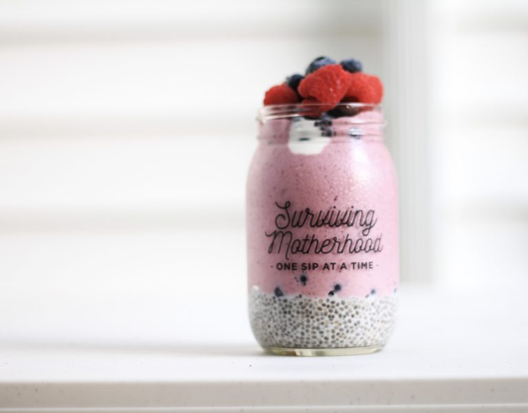 layered berry smoothie chia seeds summer recipes recipe healthy mom blog traveling family